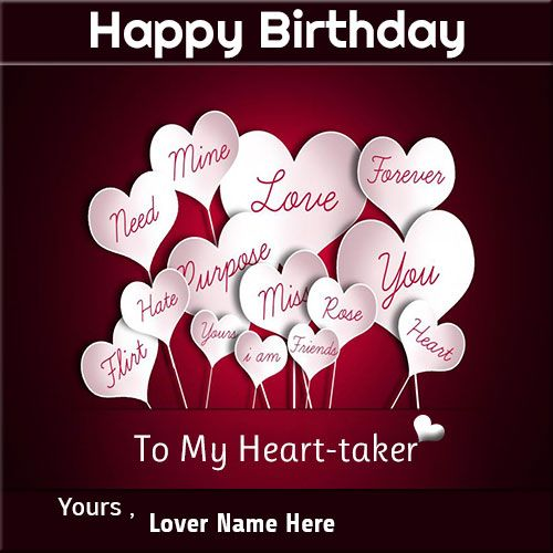 Romantic Hearts Birthday Greeting Card With Name For Lover Write
