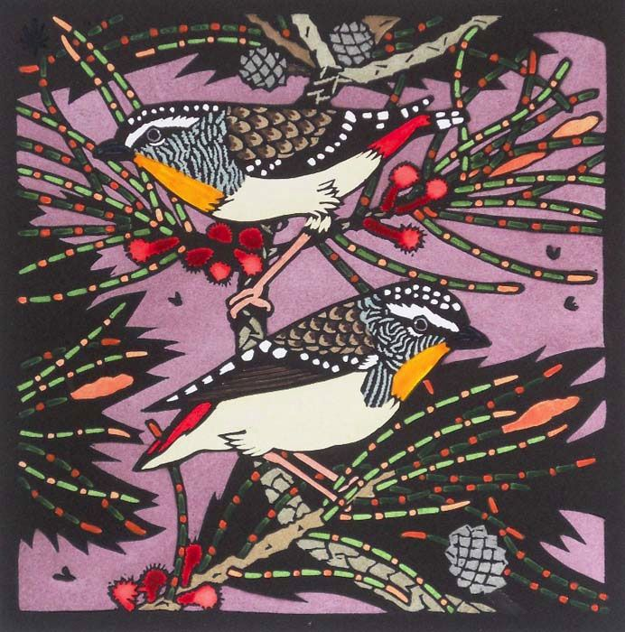 Pardalotes 2 by Kit Hiller Edition of 30 medium : Hand coloured linocut dimensions : 54 x 55 cm year : 2011