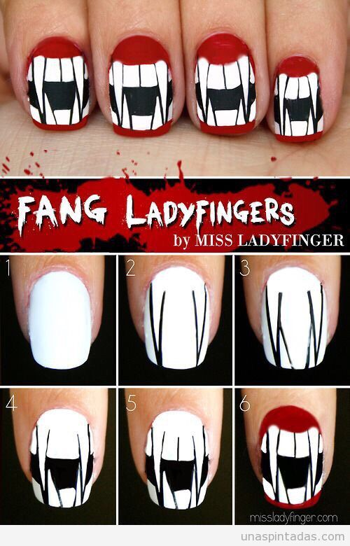 Simple Step By Step Scary Halloween Nail Art Tutorials For Beginners Halloween Nail Art Tutorial Halloween Nail Designs Halloween Nails Easy
