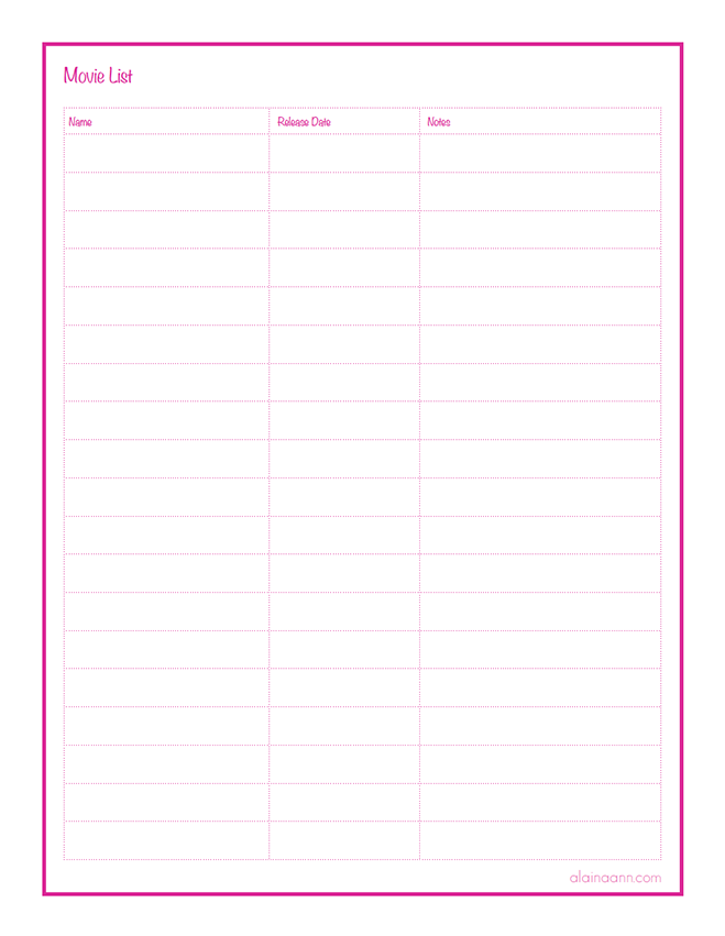 Movie List  Organized Home Free Printable  Alaina Ann