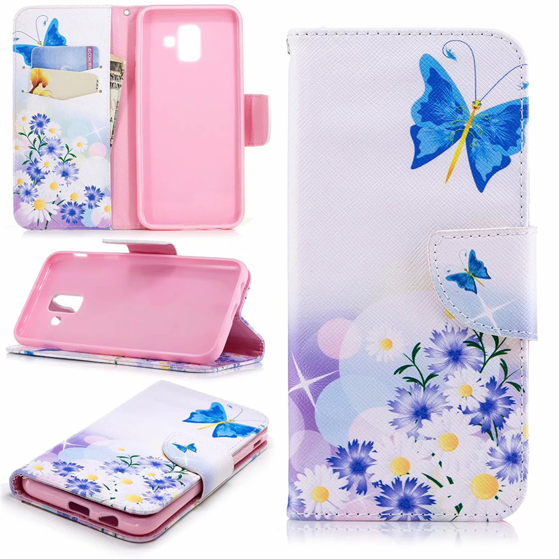 Book Flip PU Leather Cases For Samsung Galaxy A6 2018 Case Fundas Wallet Stand Slot Full Housing Silicone Cover For A6 Plus 2018