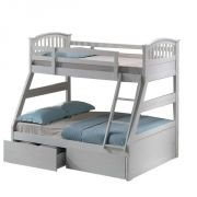 White Triple Sleeper Bunk Bed With Storage Drawers Girls Bedroom