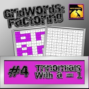 Factoring Polynomials Gridwords 4 Trinomials With A 1