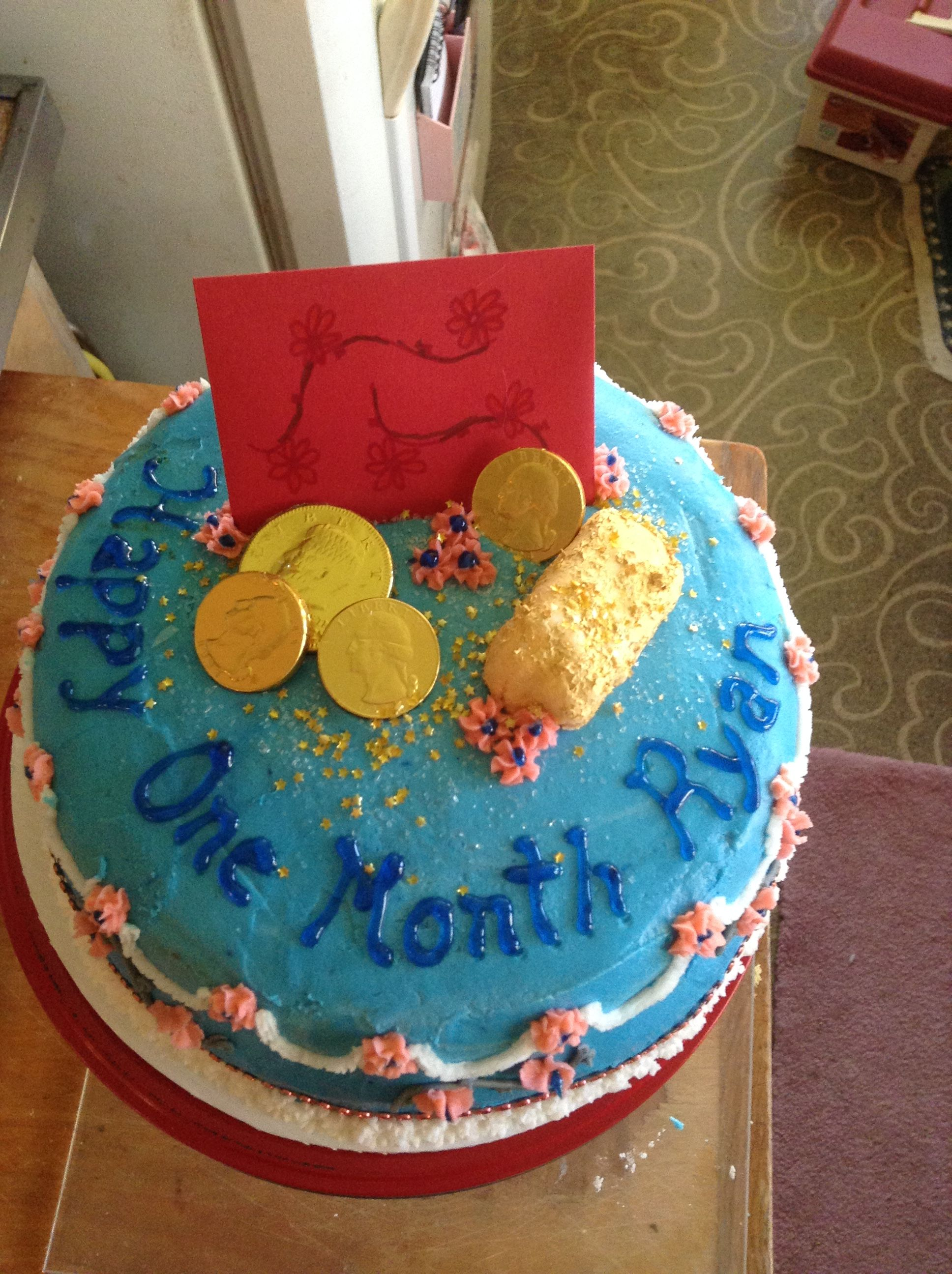 This Cake Was Made For A One Month Birthday Celebration It S A Chinese Tradition To Hold A One Month Birthday Celebr Cake Cake Decorating Birthday Celebration