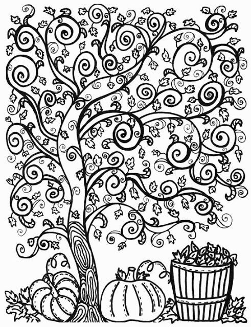 Two free fall coloring pages for bigger kids | Fall Fun and ...