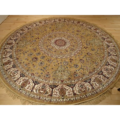 Astoria Grand Shanelle Living Room Hand Knotted Silk Gold Rug Silk Area Rugs Round Rugs Beige Rug