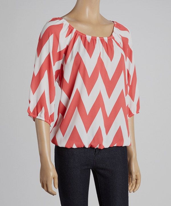 Magic Fit Coral & White Zigzag Ruched Scoop Neck Top by Magic Fit #zulily #zulilyfinds