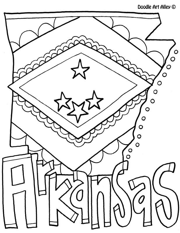 Arkansas Coloring Page By Doodle Art Alley Learning The Letter A