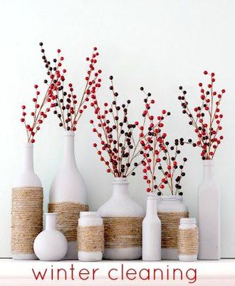 Winter Cleaning Tips from A Beautiful Little Life // spray paint any bottles white and wrap twine. SO easy!