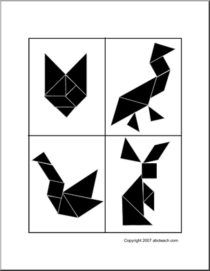 tangrams; print for patterns. this is great for busy bag