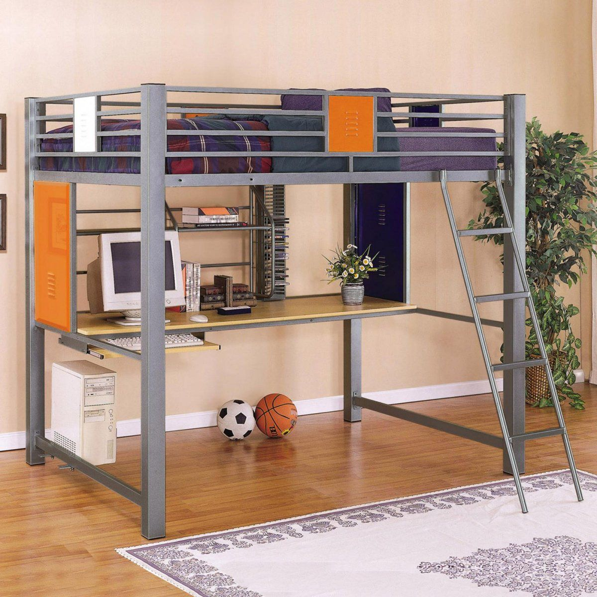 Best Powell Locker Room Style Full Study Loft Bed ดีไซน์ 640 x 480