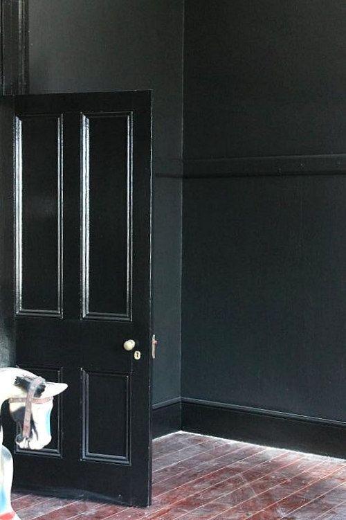 Matte Black Bedroom Wall High Gloss Black Trim Google Search Black Doors Black Walls Black Walls Bedroom