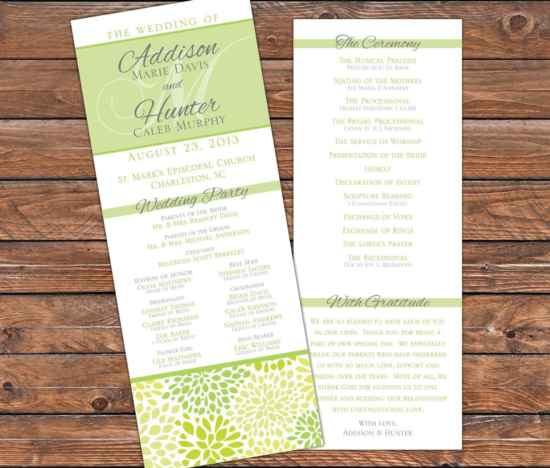 Printable Wedding Program Green Silver Wedding Program Preppy Wedding Program Design Printable Pdf 3128 Printable Wedding Programs Wedding Program Design Wedding Programs
