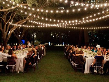Classic Italian bulbs overhead at an evening wedding | how to ...