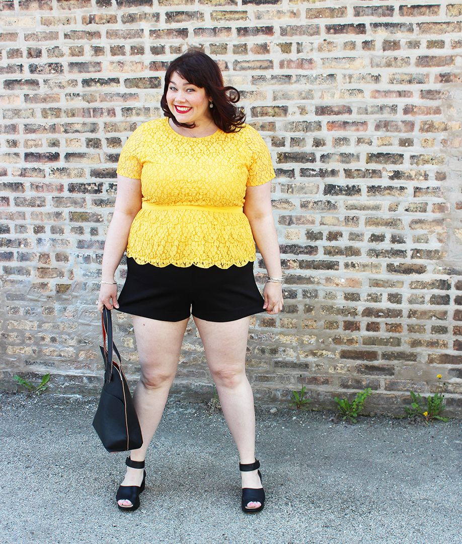 dacaa9bb14 Plus Size Blogger Amber from Style Plus Curves in a yellow lace peplum top  from Jessica London and fullbeauty.com; black plus size shorts from Torrid