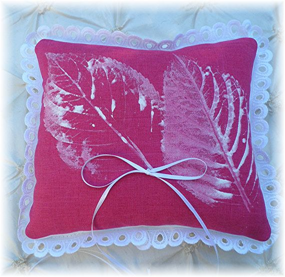 FALL Wedding Ring Bearer  Pillow  Leaf Printing  CUSTOMIZE  Your Colors OOAK Dual Purpose. $35.00, via Etsy.