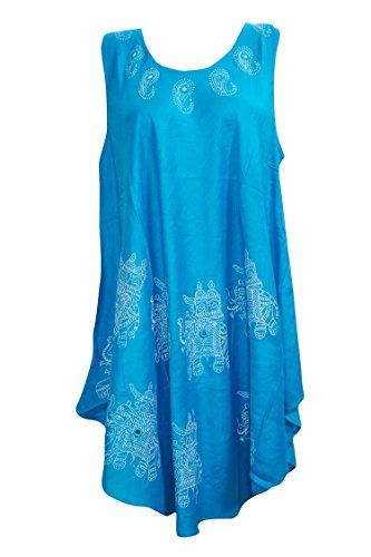 141fce31369 Women s Beach Dress Blue Mirror Work Printed Sleeveless C... https