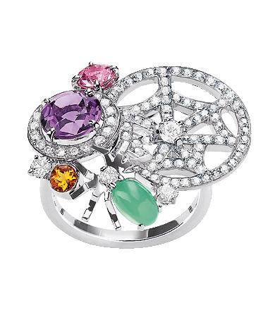 Attrape-moi…si tu m'aimes ring in 18-carat white gold, diamonds, lavender amethyst, chrysoprase, pink tourmaline and citrine, large model