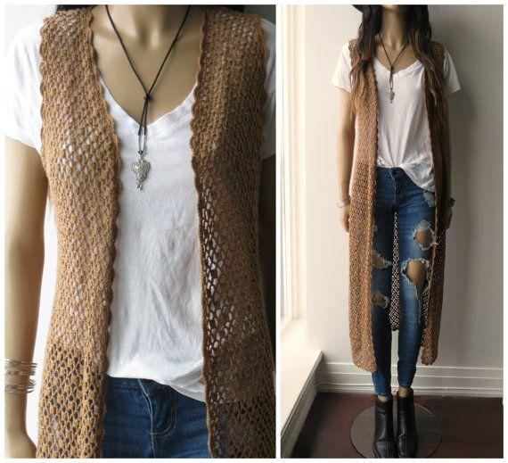 ca27a7597e9d2 Tan CROCHET open weave Knit Long Duster Hippie Boho 80 s 90 s sleeveless Cardigan  Sweater S M on Etsy