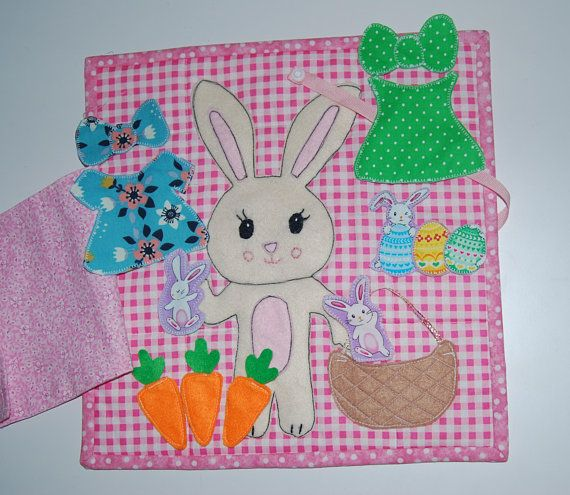 Easter gifts for toddlers little girl bunny quilt felt book dress easter gifts for toddlers little girl bunny quilt felt book dress up bunny fabric negle Images