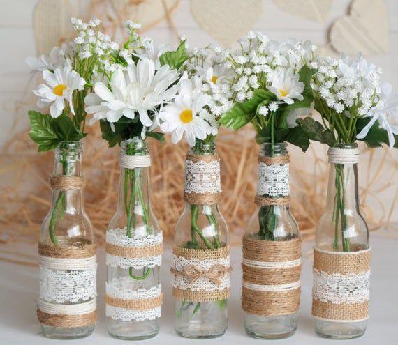 Rustic Burlap Centerpiece Bottle Vases, Wedding or Party Decor, SET of 5