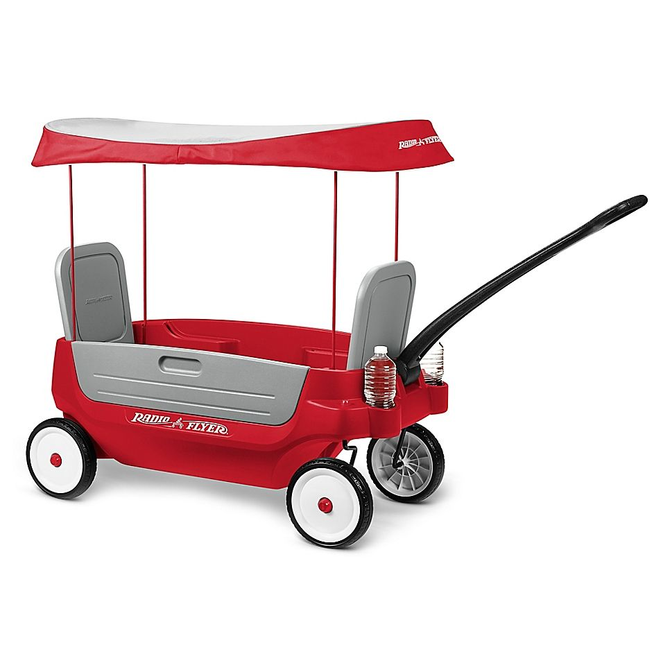 Radio Flyer Deluxe 3 In 1 Grandstand Wagon With Canopy Red Radio