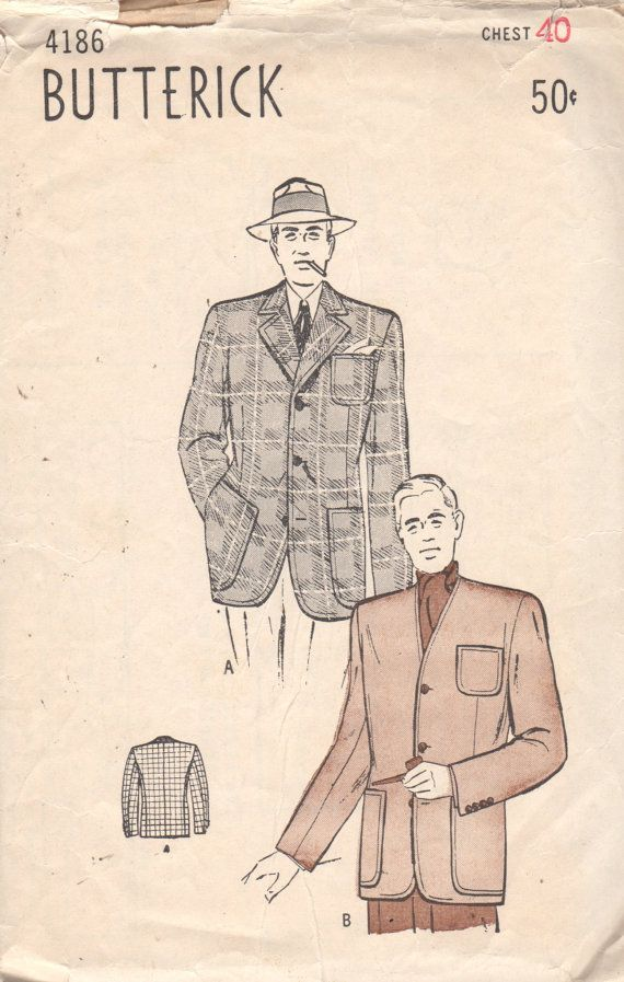 1940s Butterick 4186 Mens Sports Jacket Pattern Collar Optional ...