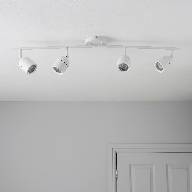 Genlis White 4 Lamp Bathroom Bar Spotlight