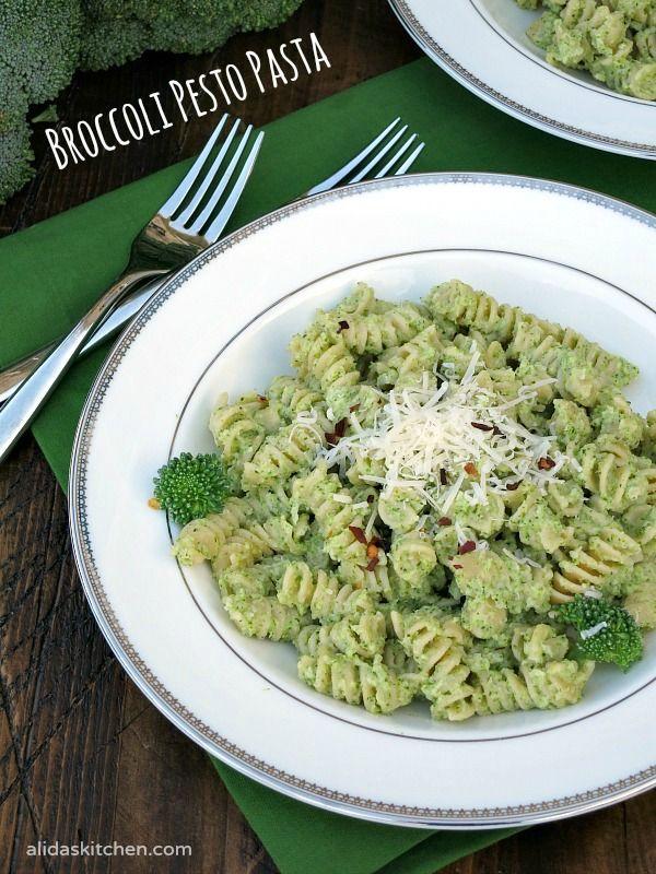 An easy recipe for Broccoli Pesto Pasta made healthier with Greek yogurt, takes minutes to make!   alidaskitchen.com
