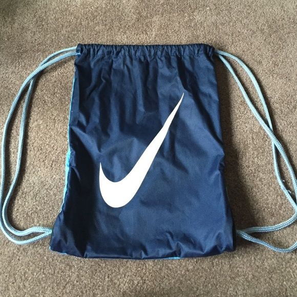 Nike draw-string backpack Light blue and navy Nike draw-string back pack Nike Bags Backpacks