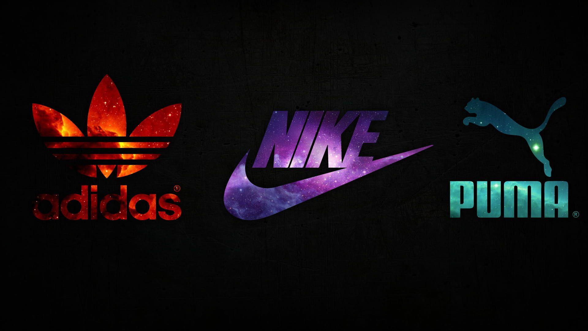 Nike Adidas Puma space logo 1080P wallpaper