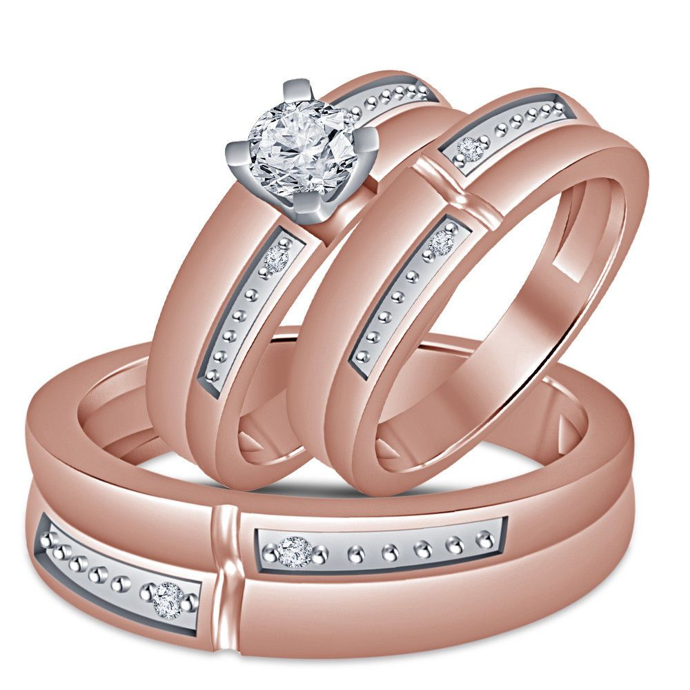 His Her 2.0Ct Round D/VVS1 Diamond Trio Ring Set Wedding Band 10K ...