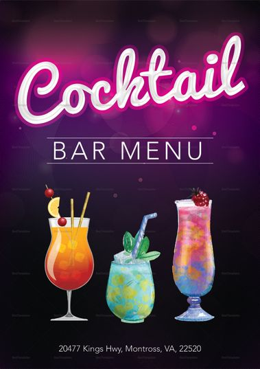 Cocktail Menu Template Vol 1 Cocktail Menu Menu Template Menu