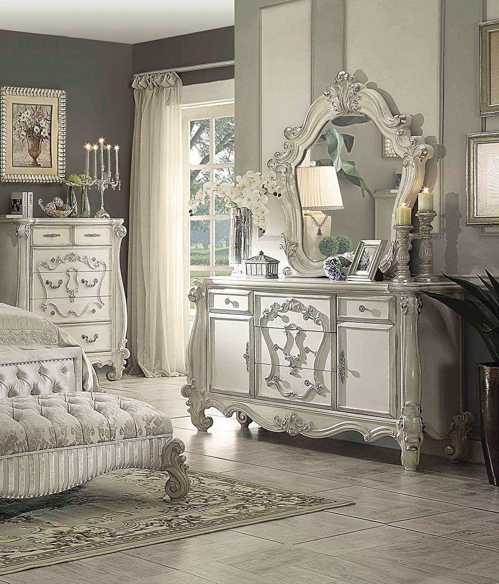 Acme 21135 Versailles Bone White Wood Finish 5 Drawers Dresser