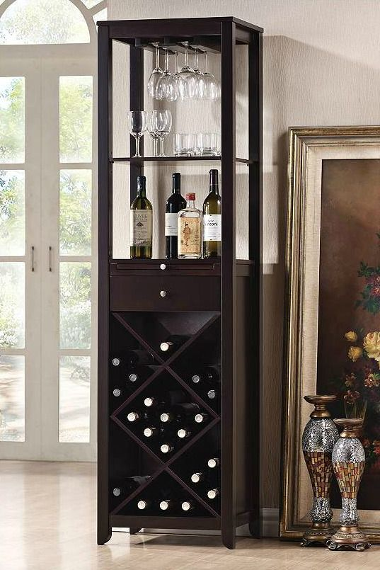 Tall And Narrow This Handsome Transitional Wine Cabinet Has Plenty Of Room For Bottle Stemware Accessory Storage