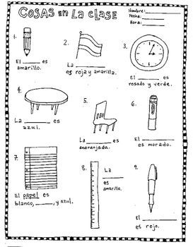 fill in the blanks classroom objects spanish no prep worksheet la clase spanish board. Black Bedroom Furniture Sets. Home Design Ideas