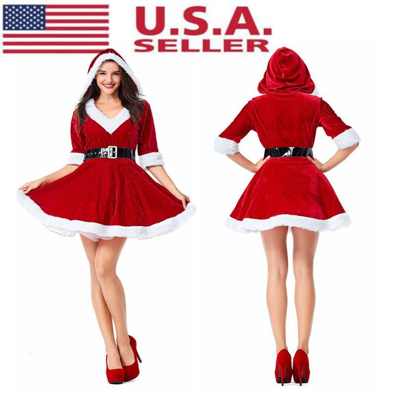 Womens Miss Santa Costume Christmas Xmas Party Ladies Outfit