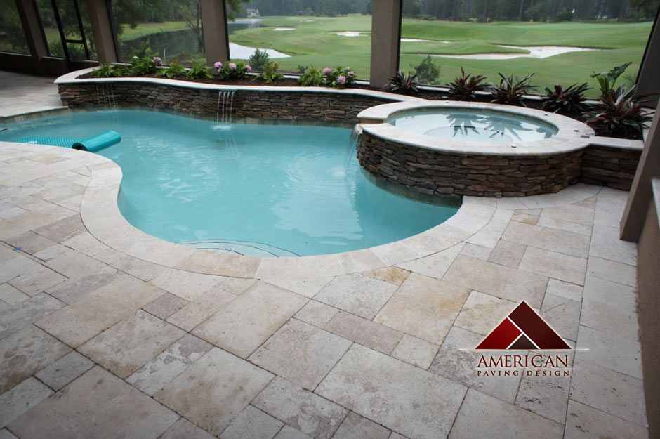 travertine pool decking | travertine pool deck bluffton sc pool decks  travertine- same color coping | Pool ideas |