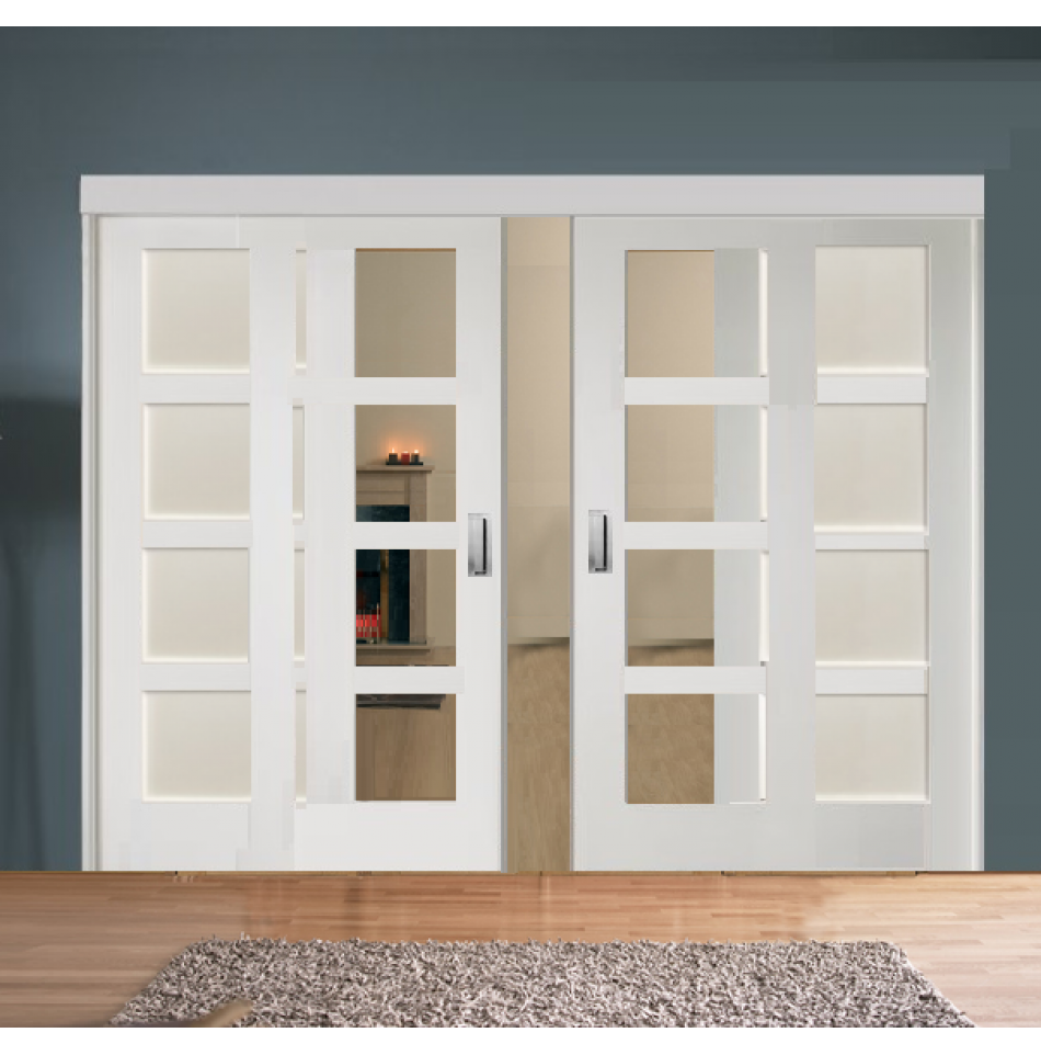 Sliding room divider with white shaker glazed solid for Sliding panel room divider