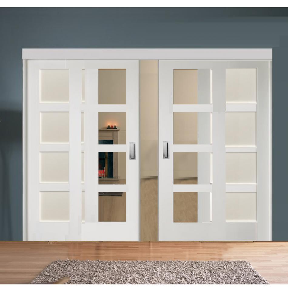 Sliding Room Divider with White Shaker Glazed & Solid ...