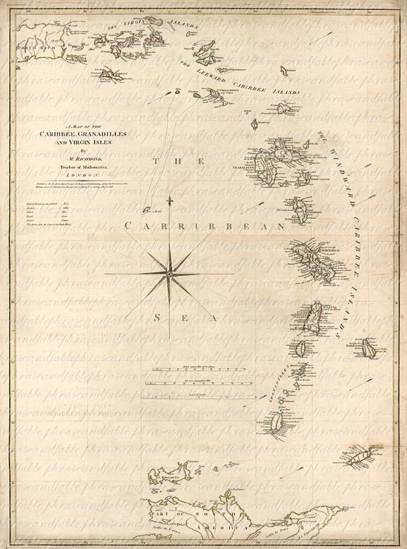 Map Of The Caribbean Sea From The 1700s 114 Map West Indies Virgin ...