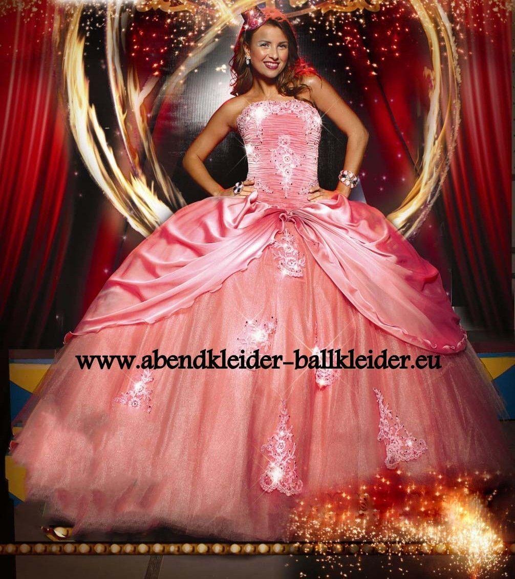 Pompöses Abendkleid Ballkleid Online in Lachs  Ball gowns
