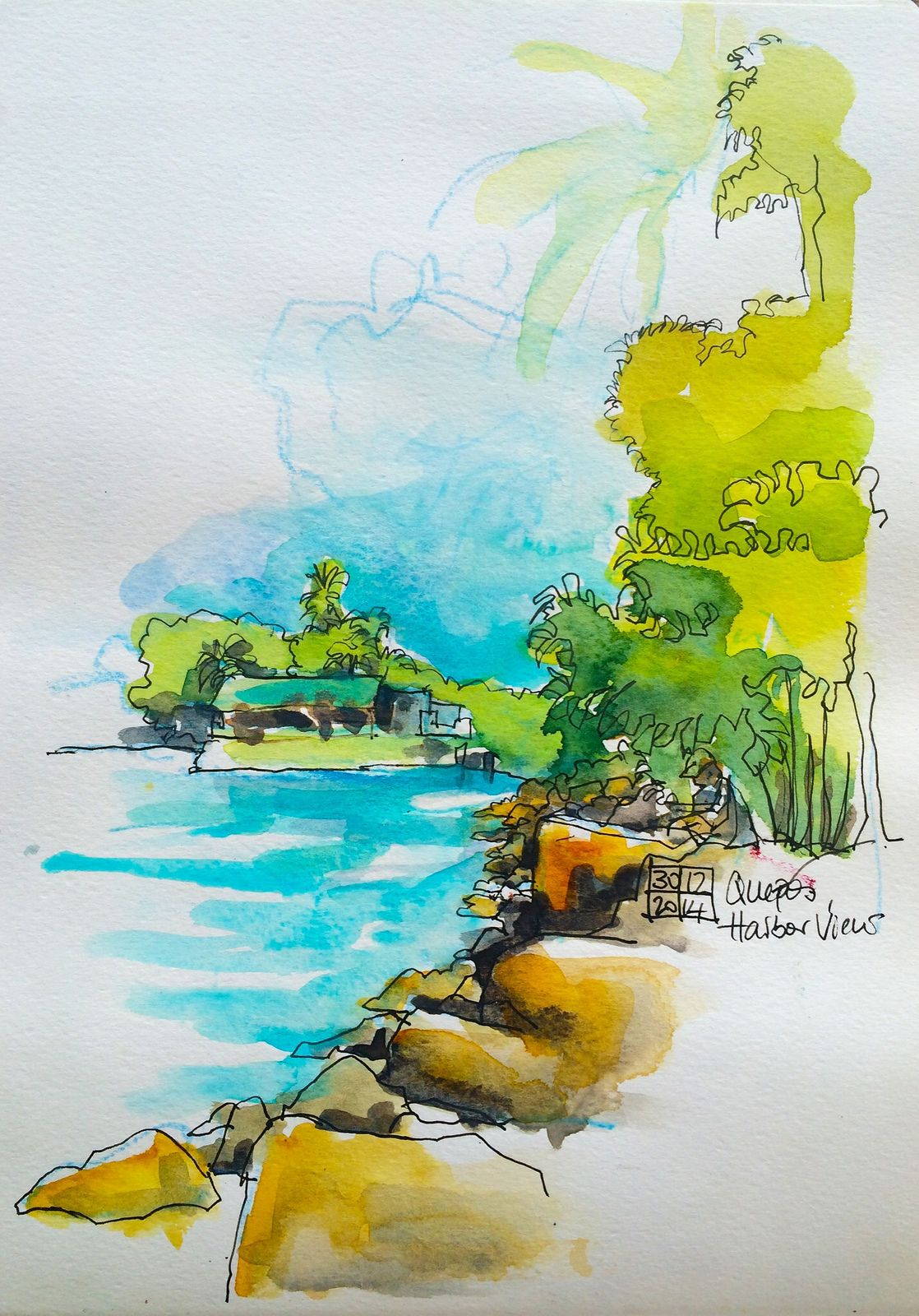 watercolor/pen and ink. Sea side scene | Great watercolor use in a ...