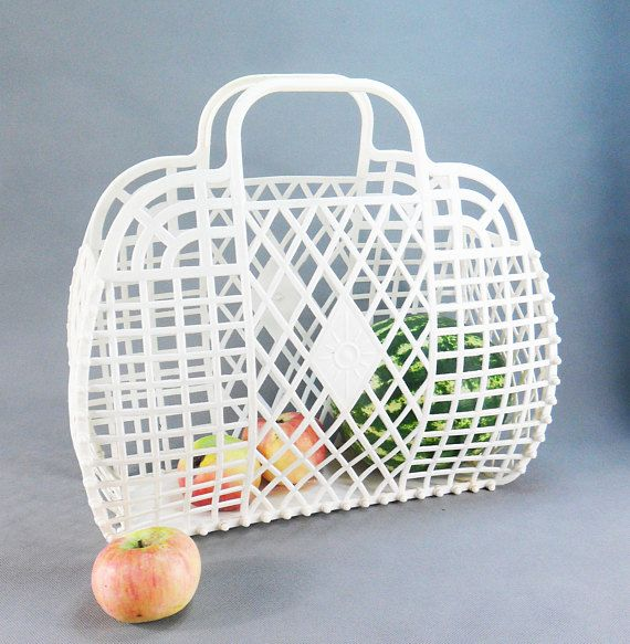 Soviet Vintage shopping bag for ladies Green black woven plastic bag Retro market bag USSR era bag