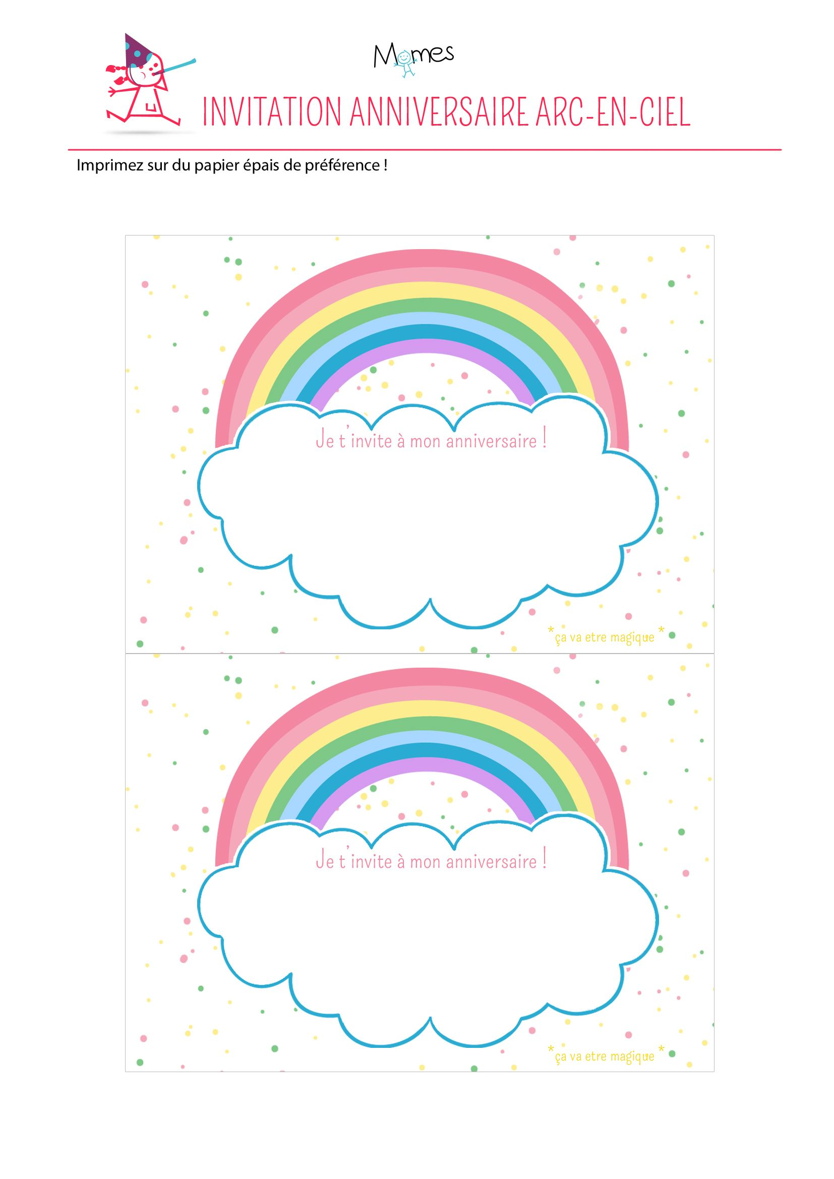 Invitation Arc En Ciel à Imprimer Printables Pinterest