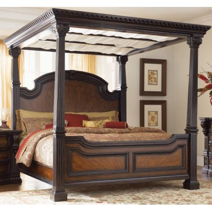 Clearance Grand Estates Cinnamon King Canopy Bed Master Bedroom