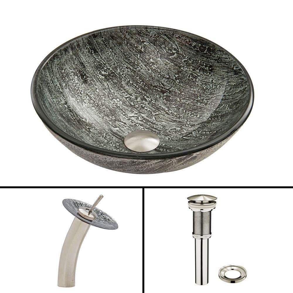 Vigo Glass Vessel Sink In Titanium And Waterfall Faucet Set In
