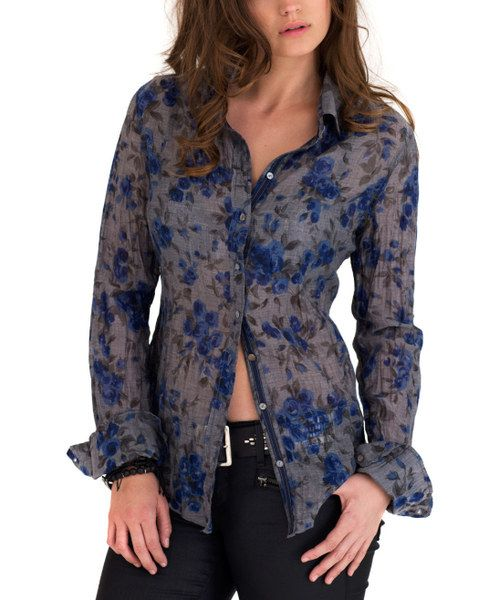 68f4fe6d Look at this Cino Smoky Blue Floral Button-Up Top on #zulily today ...