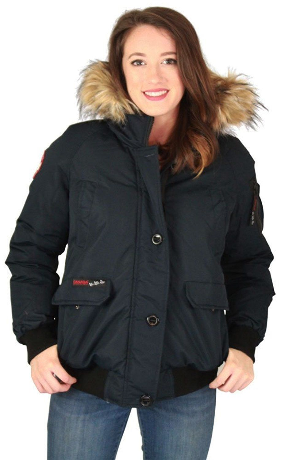 342a52b0ae9 Canada Weather Gear Womens Faux Goose Bomber Jacket Coat Blk Size 1XL    Remarkable product available now.   Plus size coats