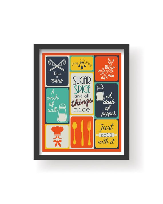 Kitchen Art Prints Utility Knife Colorful Dining Room Wall Retro Colors 5 Set Se